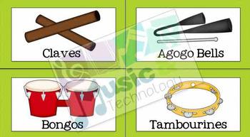 Classroom Instrument Bin Labels- Bright Solid