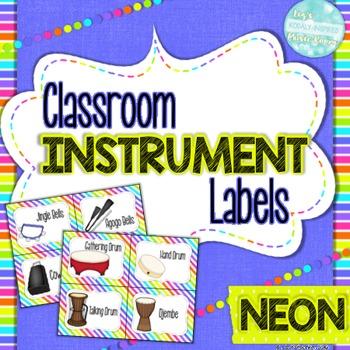 Classroom Instrument Labels: Neon