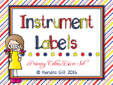 Classroom Instrument Labels - Primary Color Themed