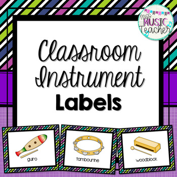 Classroom Instrument Labels: Purple, Teal, Green & Blue Patterns