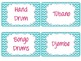 Classroom Instrument Labels with Chevron Backgrounds-Pink, lime green, and teal