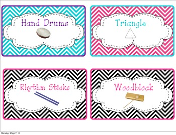 Classroom Instrument Labels with Chevrons