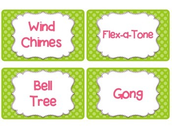 Classroom Instrument Labels with Polka Dots-Pink, Lime green and Teal