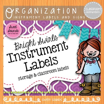 Classroom Instrument Word Wall Cards and Labels {Bright Swirls}