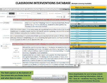 Classroom Interventions and ESE Accommodations Database