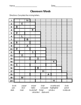 Classroom Items Word Search and Activities