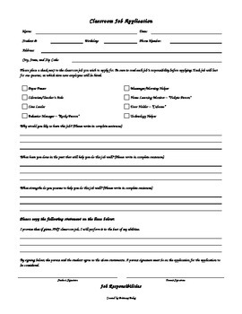 Classroom Job Application