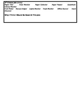 Classroom Job Application - Can Edit