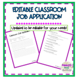 Editable Classroom Job Application