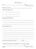 Classroom Job Application - Beginning of the Year
