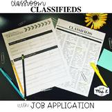Classroom Job Application & Classroom Classifieds