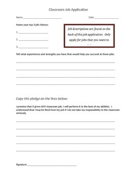 Classroom Job Application EDITABLE