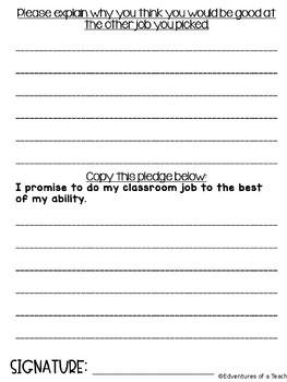 Classroom Job Application- Editable