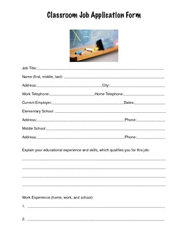 Classroom job application elementary and middle school students thecheapjerseys Gallery
