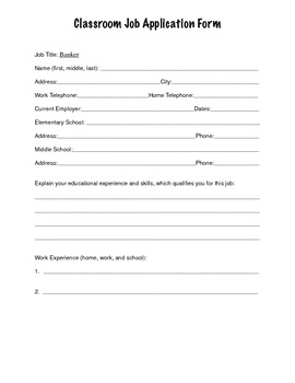Classroom Job Application (Elementary and Middle School Students)