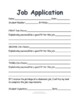 Classroom Job Application FREEBIE for Classroom Economy