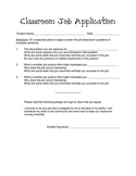 Classroom Job Application Form
