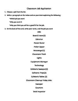 Classroom Job Application - Free