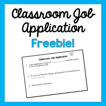 Classroom Job Application- Freebie!