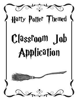 Classroom Job Application - Harry Potter Theme