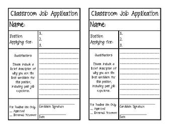Classroom Job Application- Harry Potter Themed