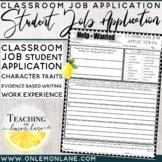 Classroom Jobs/ Job Application | Classroom Job Applications {Classroom Economy}
