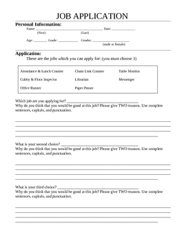Classroom Job Application - Intermediate