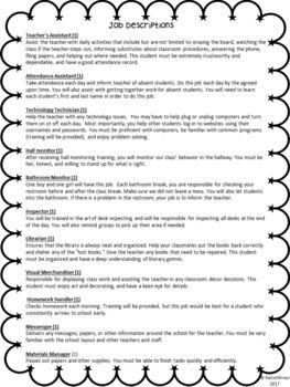 Classroom Job Application Packet