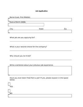 Classroom Job Application Real Life Version