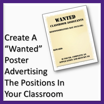 Classroom Job Application & Wanted Poster