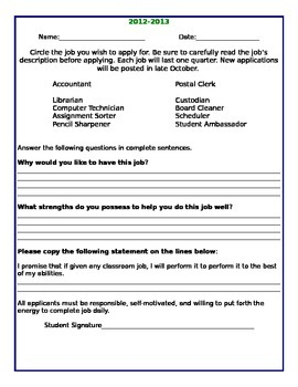 Classroom Job Application and Description *EDITABLE*