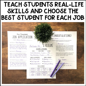 Classroom Job Application and Résumé (Great for a Classroom Economy!)