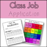 Classroom Job Application and choices