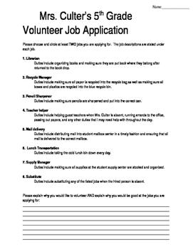 Classroom Job Application (editable)