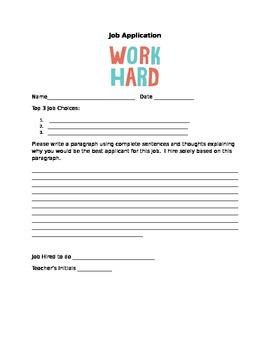 Classroom Job Application for students!