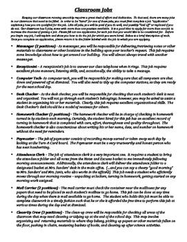 Classroom Job Application with Descriptions