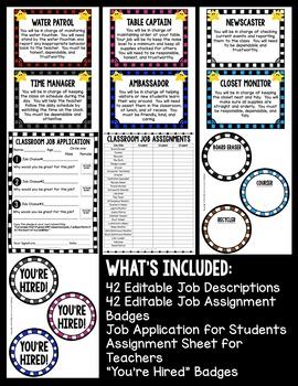 Classroom Jobs for Students {Editable}
