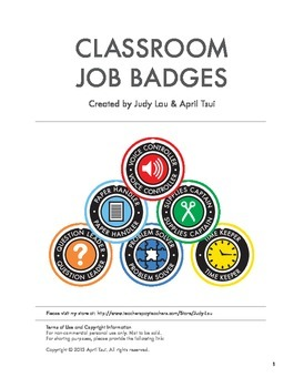 Elementary Classroom Jobs: Badges, Labels (K-6)