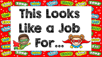 Classroom Job Card- Superhero Theme