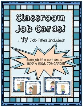 Classroom Job Cards {17 Job Titles!} Boy + Girl Job Cards