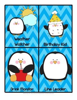 Classroom Job Cards Penguin Themed