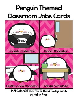 Classroom Job Cards Penguin Themed