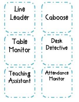 Classroom Job Cards and Job Descriptions