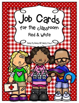 Classroom Job Cards in Red & White