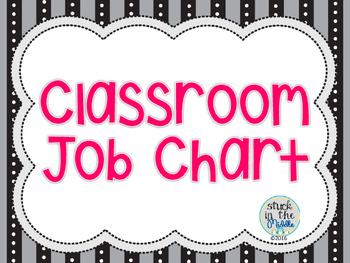 Classroom Job Chart - Black & Pink