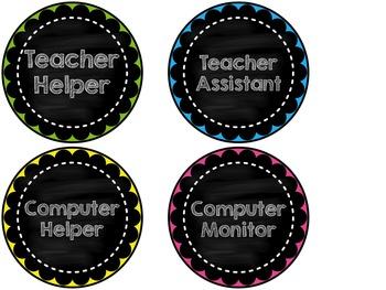 Classroom Job Chart: Chalkboard Theme {{EDITABLE}}