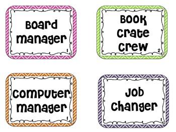 Classroom Job Chart Chevron