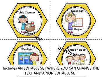 Classroom Job Chart - EDITABLE (BEE HIVE CLASSROOM JOB CHART)