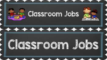 Classroom Job Chart (Editable) ~~ Chalkboard and Blue