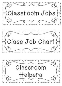 Classroom Job Chart Grades K - 3